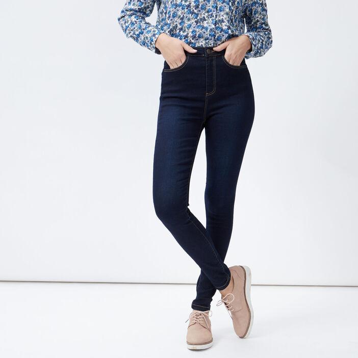 Jeans skinny taille haute femme denim brut