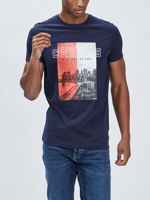 T shirt manches courtes Creeks bleu marine homme