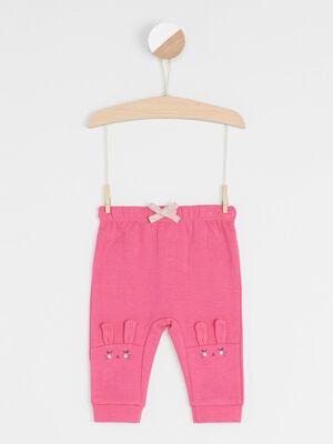 Pantalon broderies et details 3D rose fushia fille