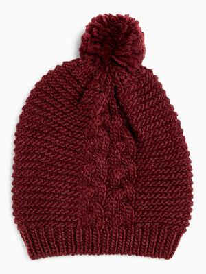 Bonnet maille metallisee avec torsades bordeaux mixte