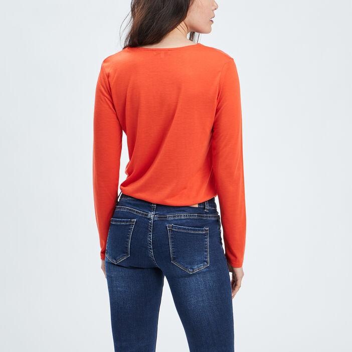 T-shirt manches longues femme rouge
