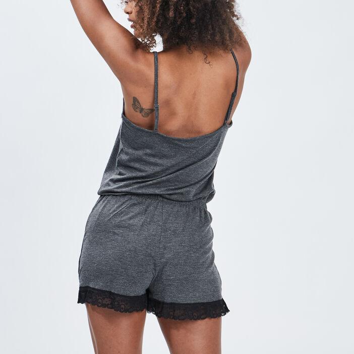 Combishort pyjama femme gris foncé