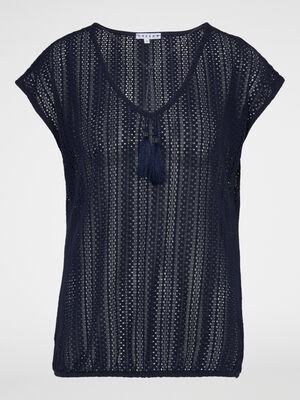 T shirt manches courtes avec lien pompon bleu marine femme