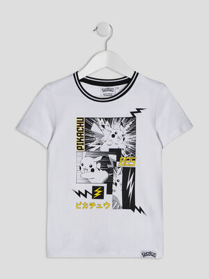 T shirt Pokemon blanc garcon