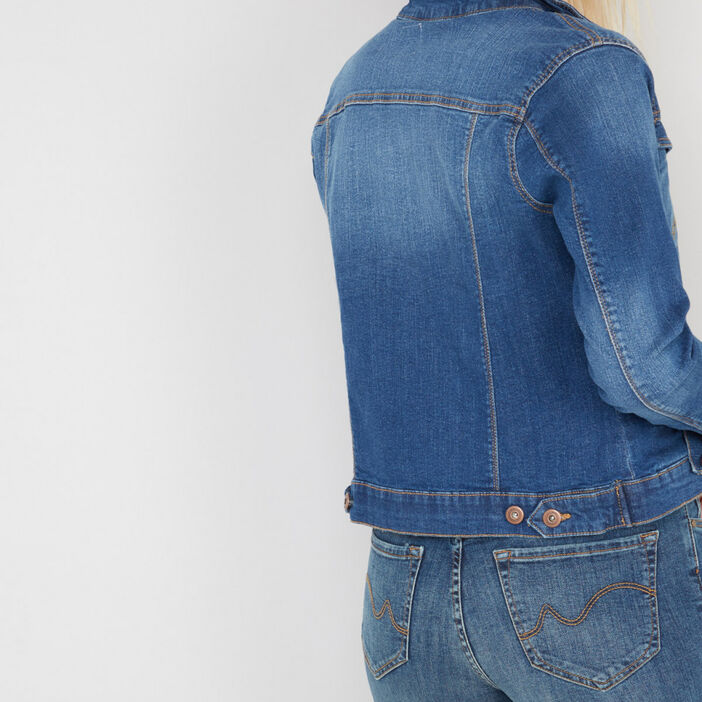 Veste boutonnée en denim femme denim stone
