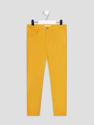 Pantalon slim taille ajustable jaune moutarde fille