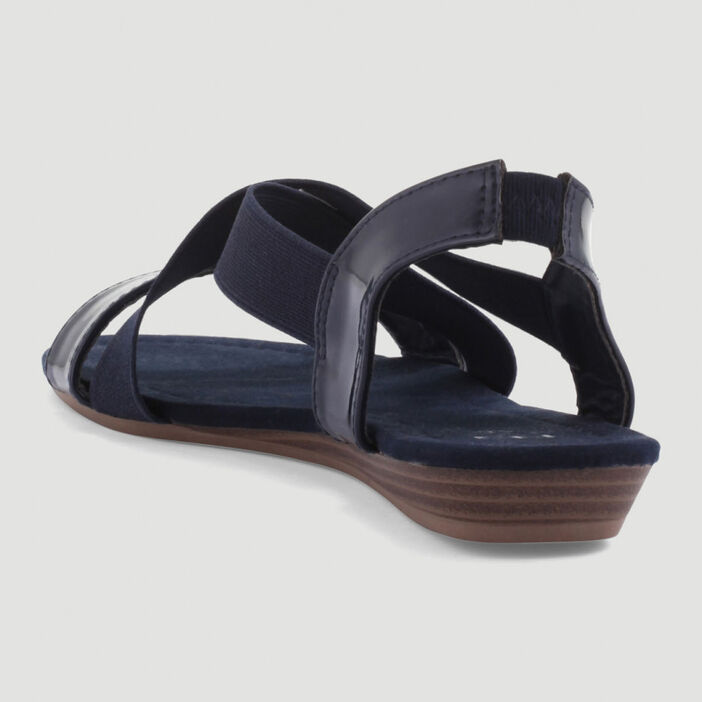 Sandales élastiquées petit compensé femme bleu
