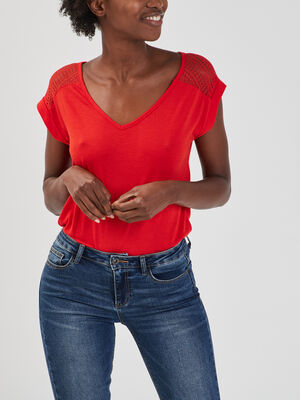 T shirt bimatiere manches courtes rouge femme