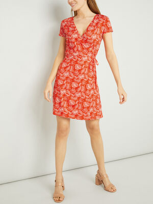 Robe portefeuille manches courtes rouge femme
