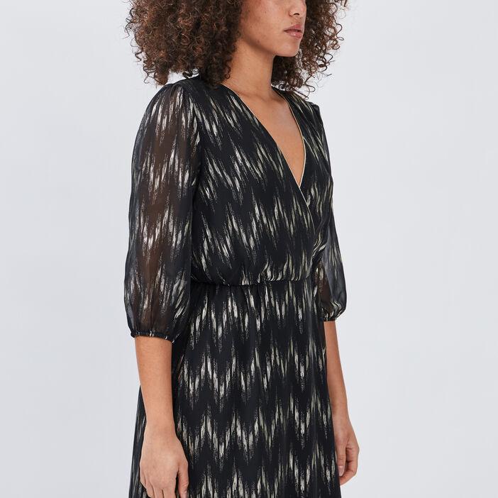 Robe longue droite fluide femme noir