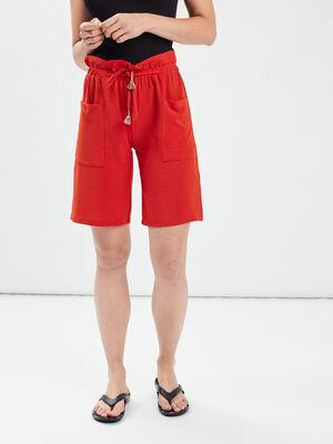 Short droit a poches plaquees orange fonce femme