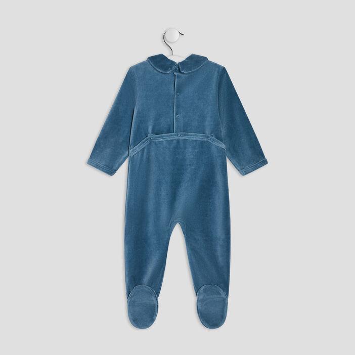 Dors-bien avec col châle bébé garçon bleu canard