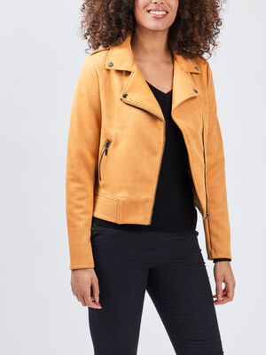 Veste droite effet suedine jaune moutarde femme