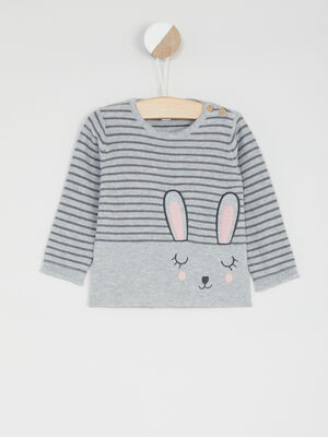 Pull raye imprime lapin gris fille