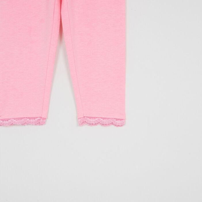 Legging uni bas en dentelle fille rose fluo