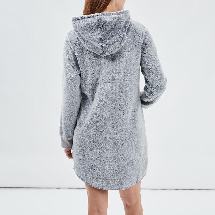 Chemise de nuit à capuche femme gris