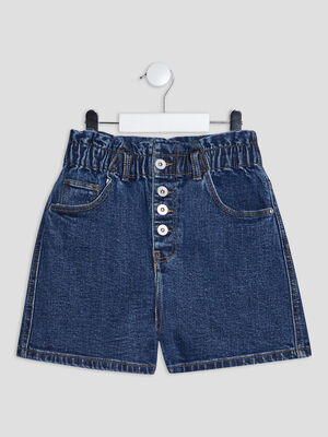 Short mom taille haute en jean denim double stone fille