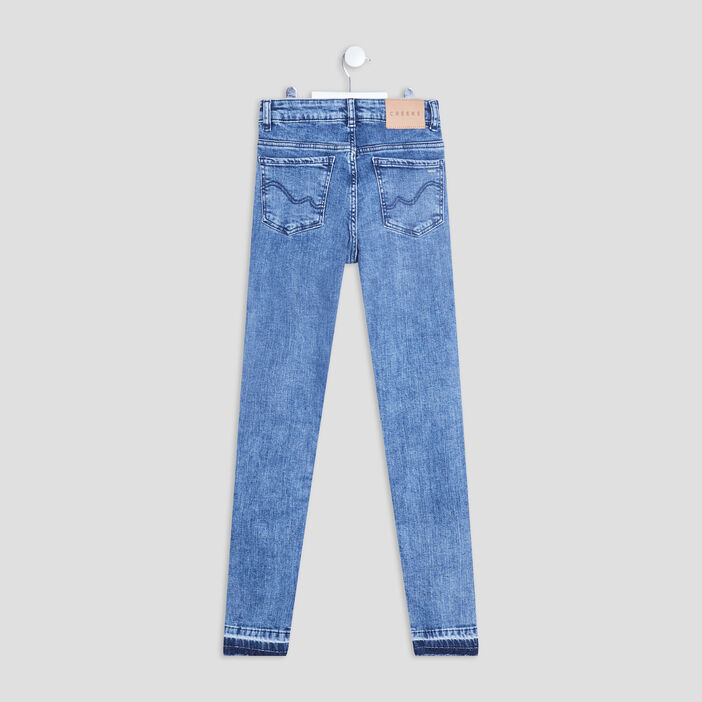 Jeans skinny taille ajustable Creeks fille denim double stone