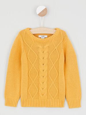 Pull coton torsades devant jaune moutarde garcon
