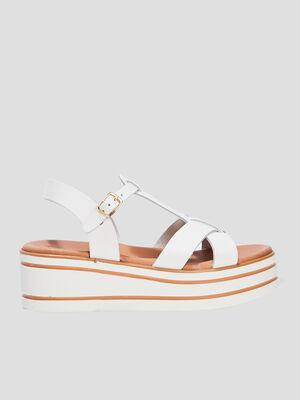 Sandales compensees blanc fille