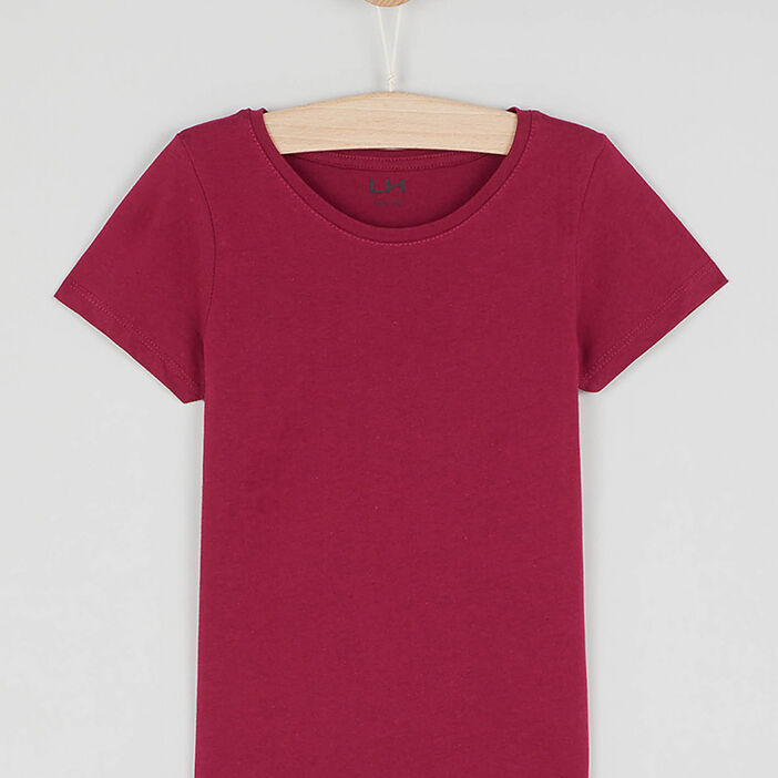 T-shirt uni en coton fille bordeaux