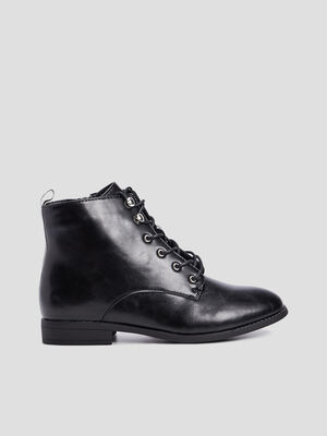 Bottines lace up zippees talon plat noir femme