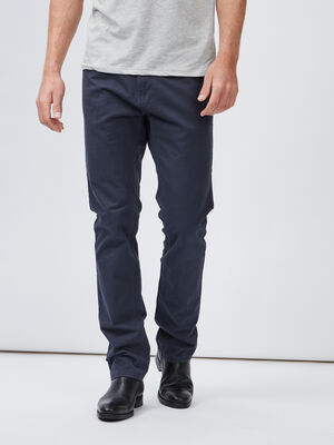 Pantalon droit coton uni bleu marine homme