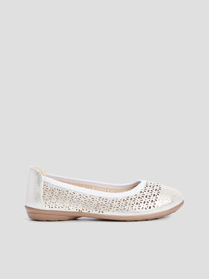 Ballerines perforees couleur argent femme