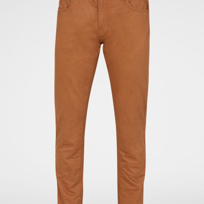 Pantalon droit coton uni homme marron clair