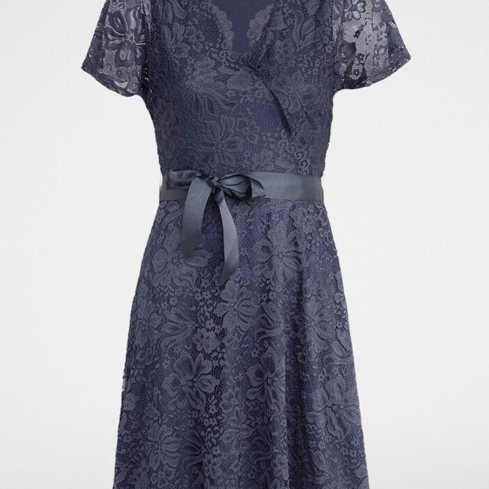 Robe en dentelle ceinturée femme bleu marine