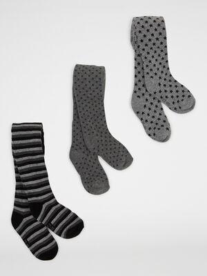 Lot 3 paires collants motifs gris mixte