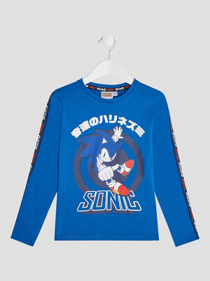 T shirt manches longues Sonic bleu garcon