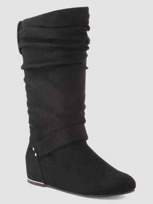 Bottes plates plissees noir femme