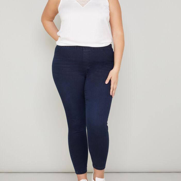 Pantalon jegging femme grande taille denim blue black