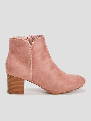 Boots suedees finitions irisees rose femme