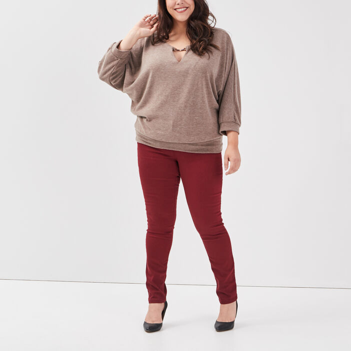 Pull manches 3/4 grande taille femme grande taille beige