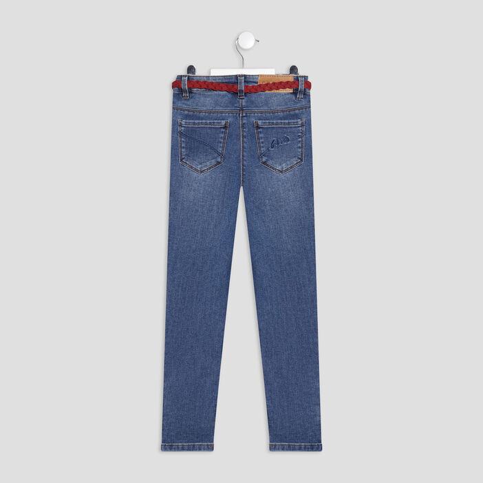 Jeans slim ceinturé Creeks fille denim double stone