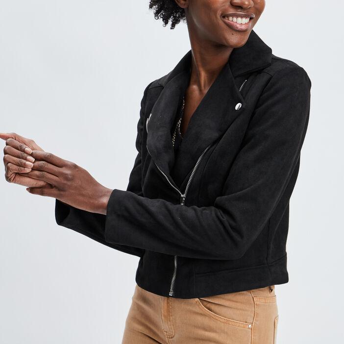 Veste droite zippée femme noir