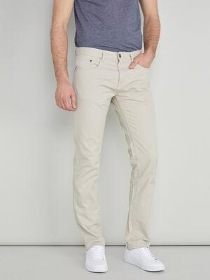 Pantalon droit coton uni ecru homme