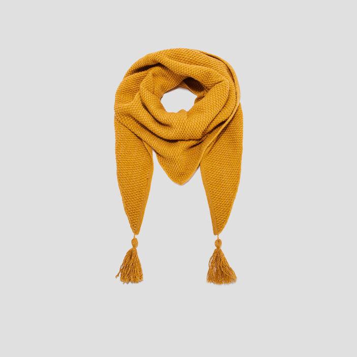 Écharpe à pampilles femme jaune moutarde