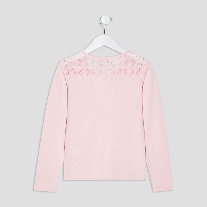 Gilet manches longues fille rose clair
