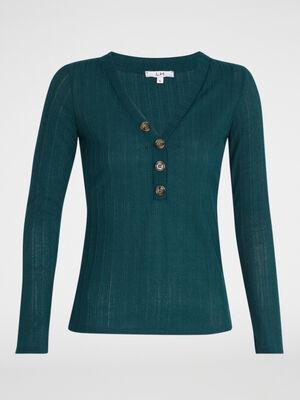 T shirt manches longues maille fantaisie vert emeraude femme