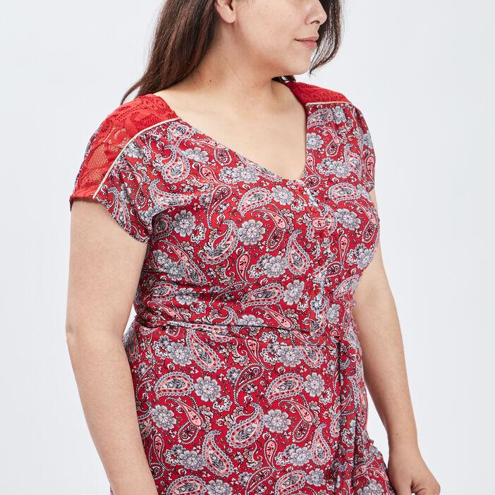 Robe droite ceinturée femme grande taille rouge