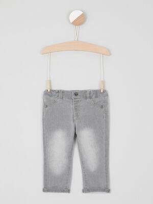 Jean slim a taille elastiquee gris garcon