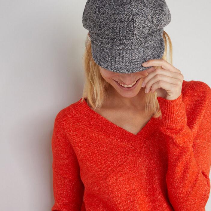 Gavroche souple en tweed mixte gris