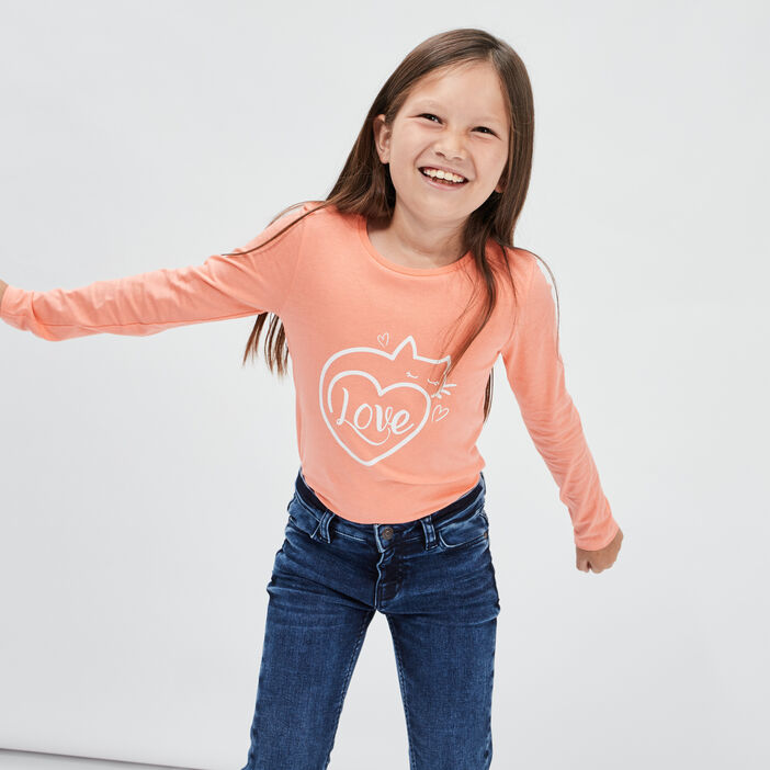 T-shirt manches longues fille rose corail