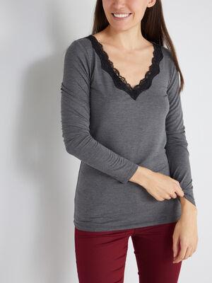 T shirt col V avec dentelle gris fonce femme
