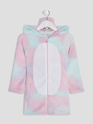Peignoir a capuche multicolore fille