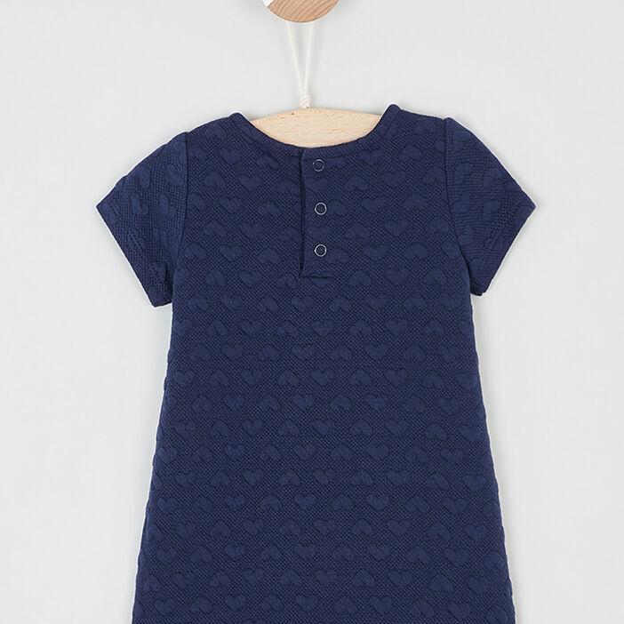 Robe trapèze à manches courtes fille bleu marine