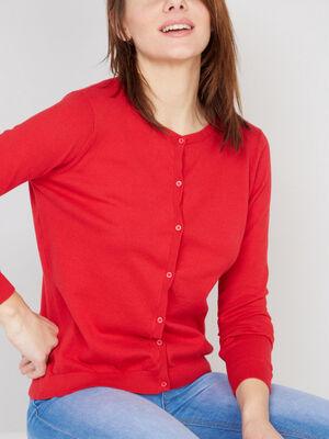 Gilet manches longues boutonne rouge femme